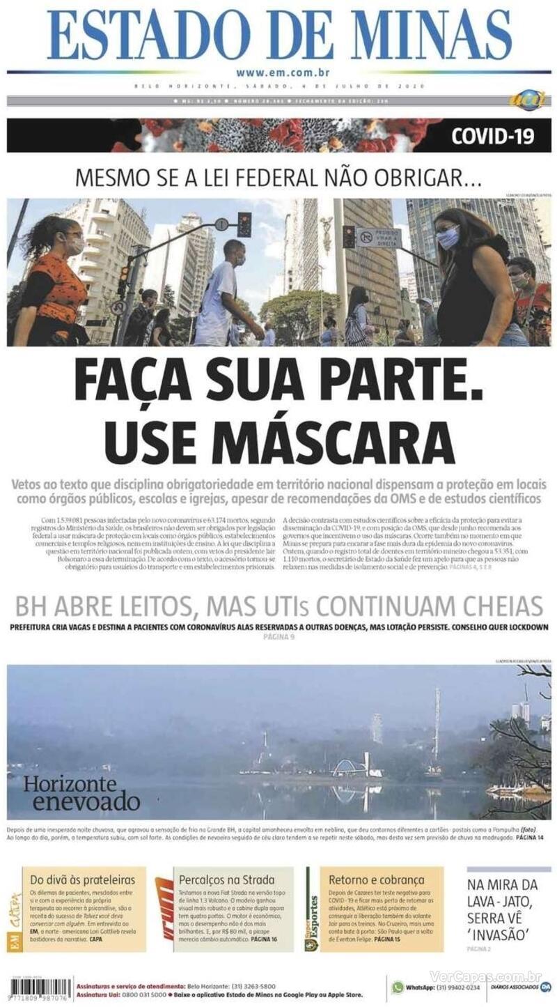 Capa do jornal Estado de Minas 04/07/2020