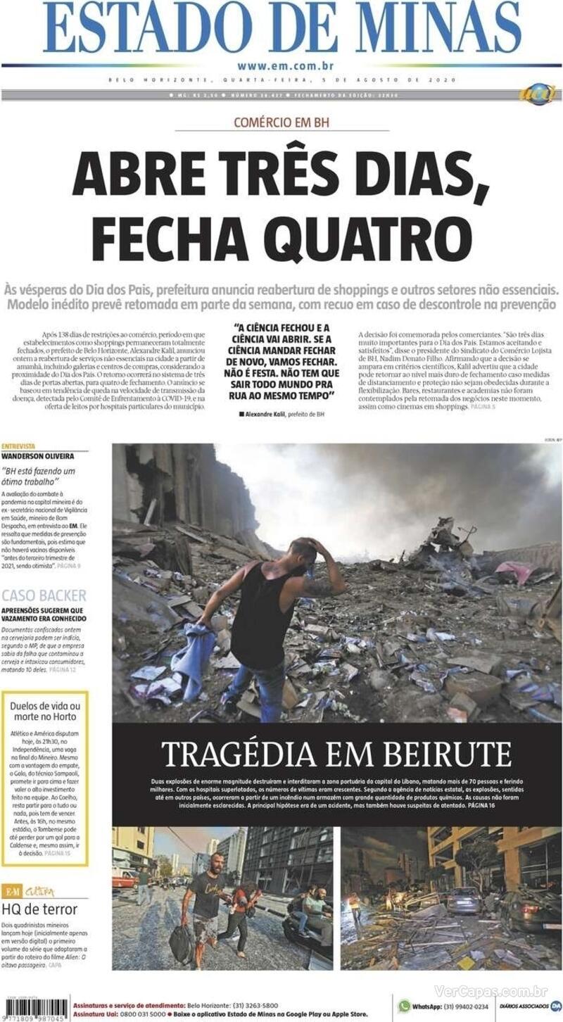 Capa do jornal Estado de Minas 05/08/2020