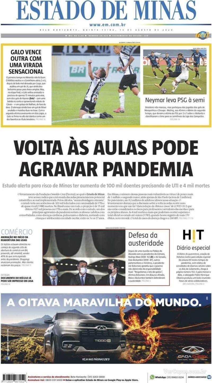 Capa do jornal Estado de Minas 13/08/2020
