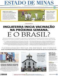 Capa do jornal Estado de Minas 03/12/2020