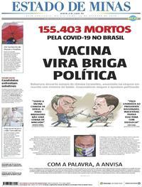 Capa do jornal Estado de Minas 22/10/2020