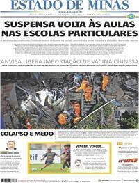 Capa do jornal Estado de Minas 24/10/2020