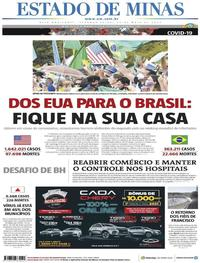 Capa do jornal Estado de Minas 25/05/2020