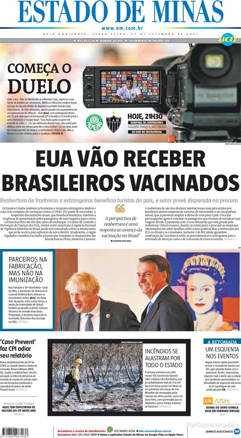 Capa do jornal Estado de Minas 21/09/2021
