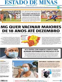 Capa do jornal Estado de Minas 14/05/2021