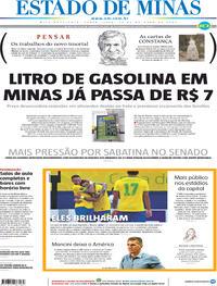 Capa do jornal Estado de Minas 15/10/2021