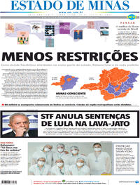Capa do jornal Estado de Minas 16/04/2021