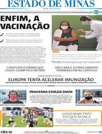 Capa do jornal Estado de Minas 18/01/2021