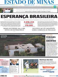 Capa do jornal Estado de Minas 24/01/2021