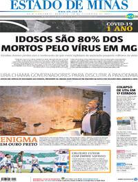 Capa do jornal Estado de Minas 28/02/2021