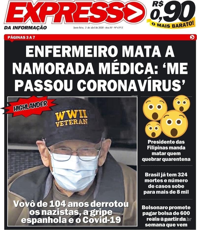 Capa do jornal Expresso da Informação 03/04/2020