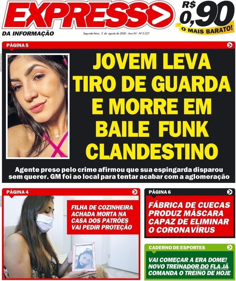 Capa do jornal Expresso da Informação 03/08/2020