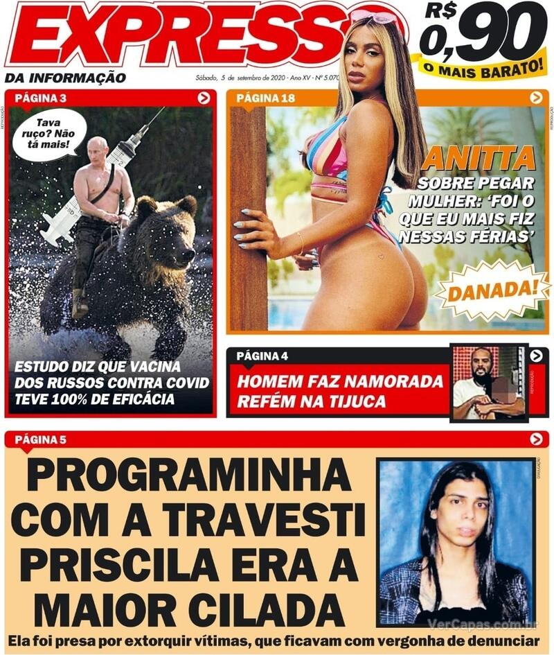 Capa do jornal Expresso da Informação 05/09/2020