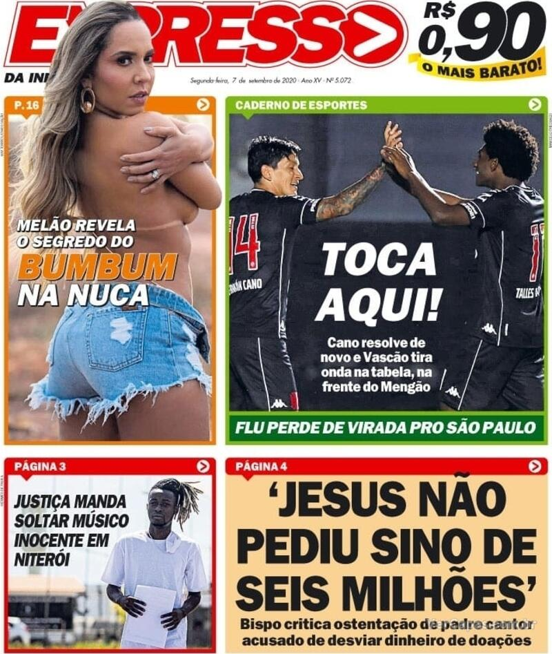 Capa do jornal Expresso da Informação 07/09/2020