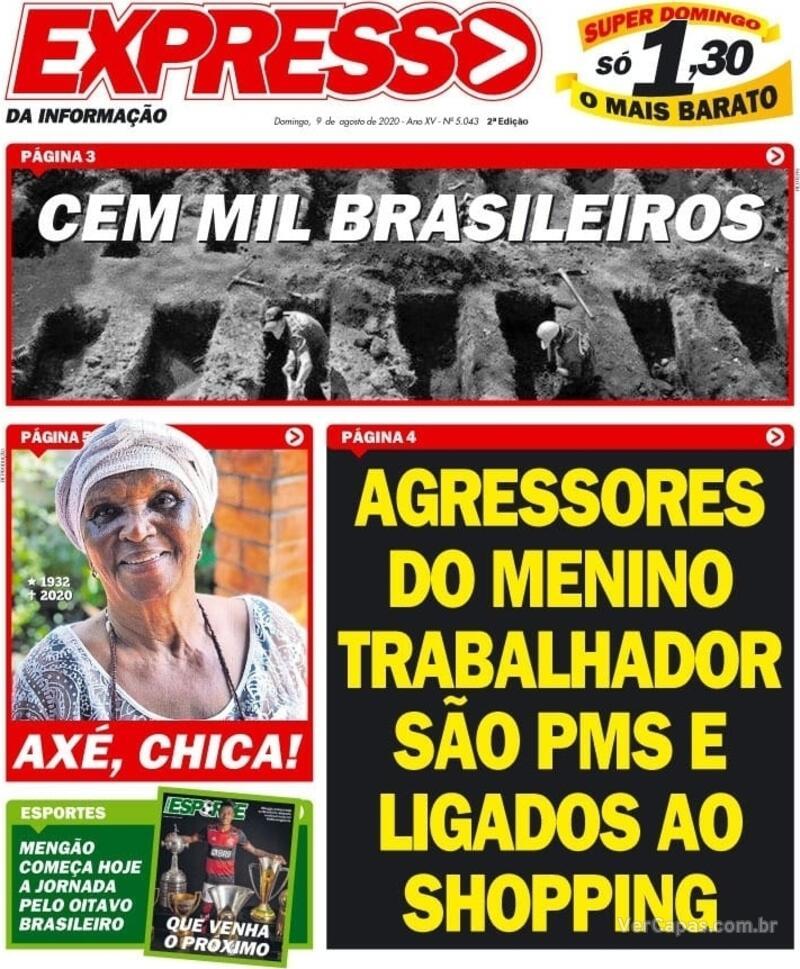 Capa do jornal Expresso da Informação 09/08/2020