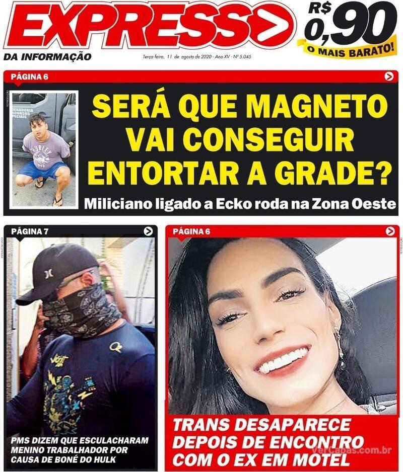 Capa do jornal Expresso da Informação 11/08/2020