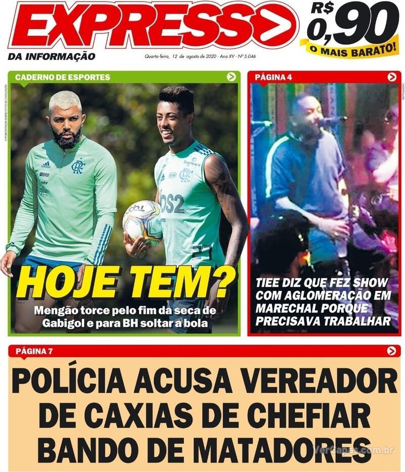 Capa do jornal Expresso da Informação 12/08/2020