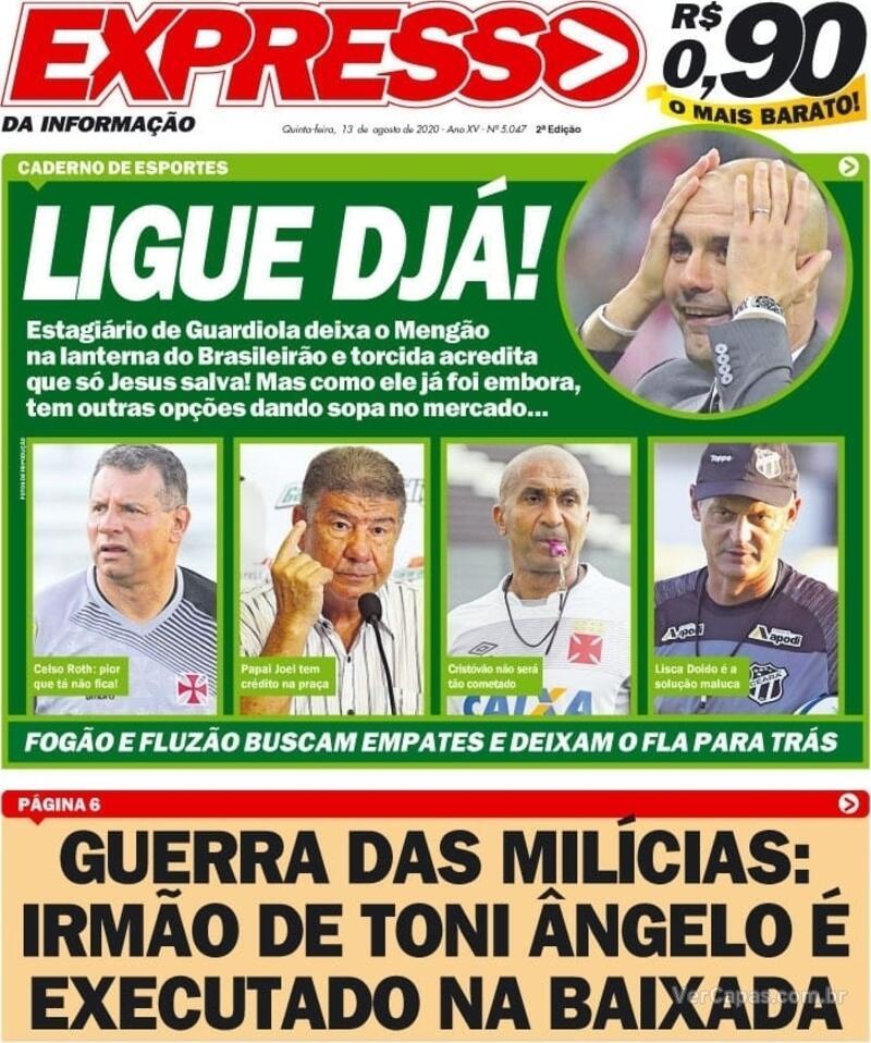Capa do jornal Expresso da Informação 13/08/2020