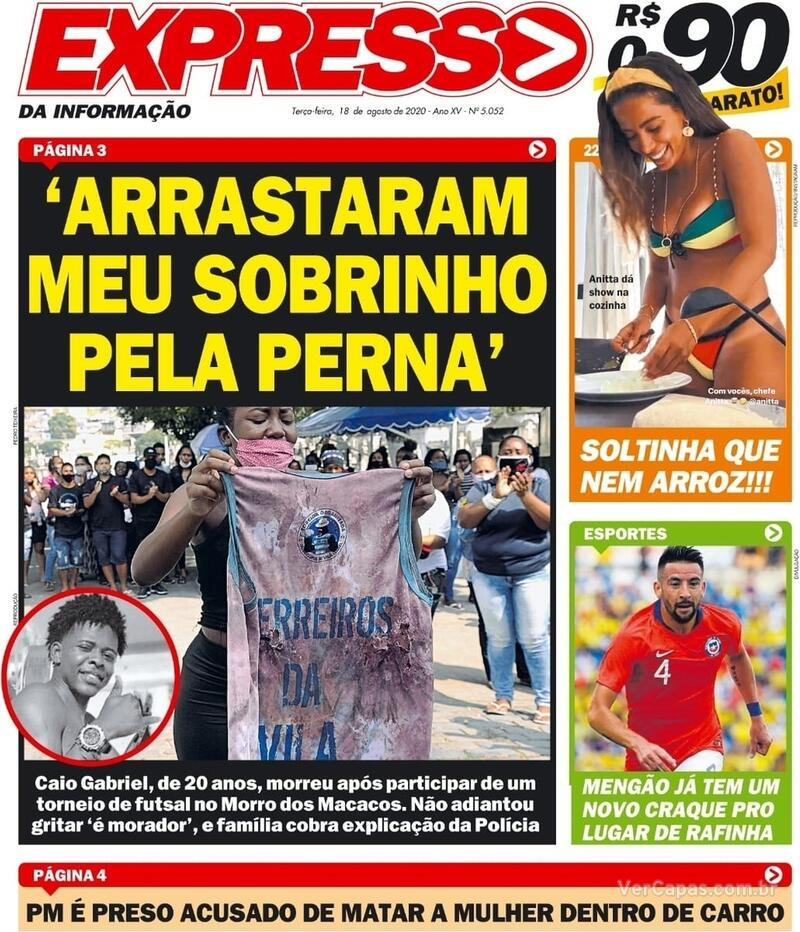 Capa do jornal Expresso da Informação 18/08/2020