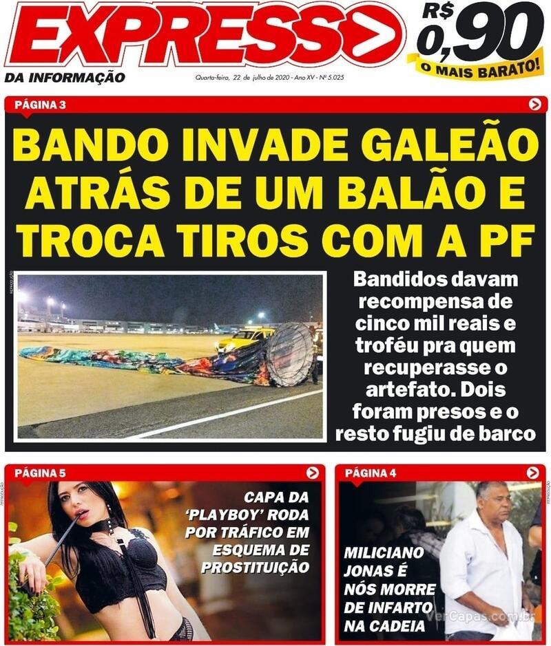 Capa do jornal Expresso da Informação 22/07/2020