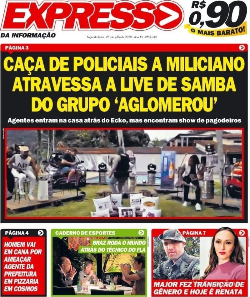 Capa do jornal Expresso da Informação 27/07/2020