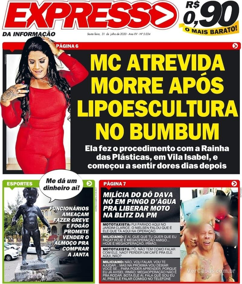Capa do jornal Expresso da Informação 31/07/2020