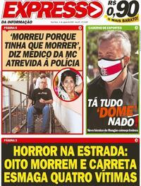 Capa do jornal Expresso da Informação 04/08/2020