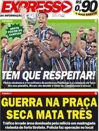 Capa do jornal Expresso da Informação 09/07/2020