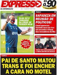 Capa do jornal Expresso da Informação 15/08/2020