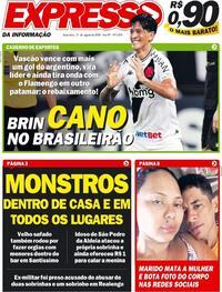 Capa do jornal Expresso da Informação 21/08/2020