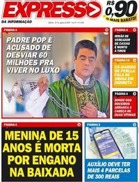 Capa do jornal Expresso da Informação 22/08/2020