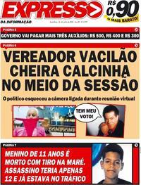 Capa do jornal Expresso da Informação 26/06/2020