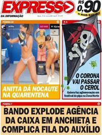 Capa do jornal Expresso da Informação 30/05/2020