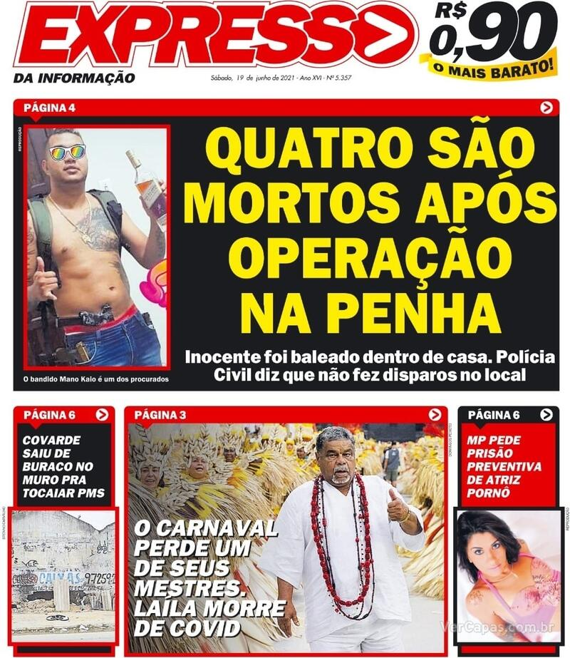 Capa do jornal Expresso da Informação 19/06/2021