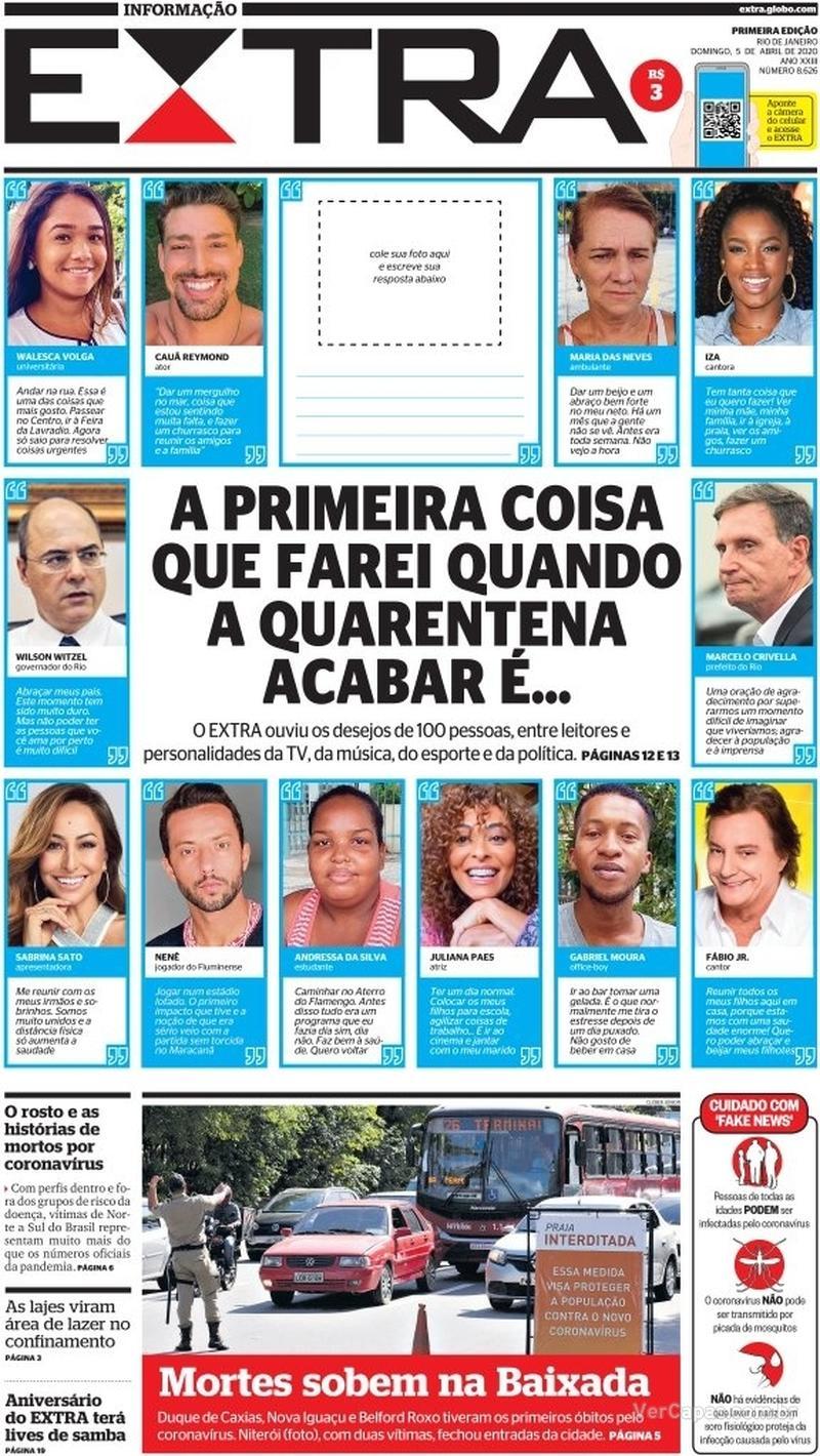 Capa do jornal Extra 05/04/2020