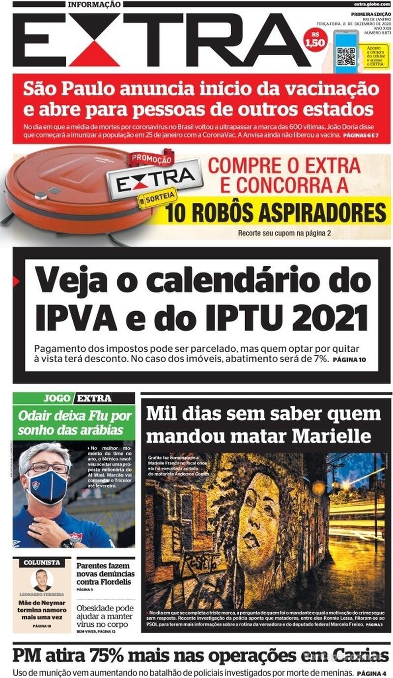 Capa do jornal Extra 08/12/2020