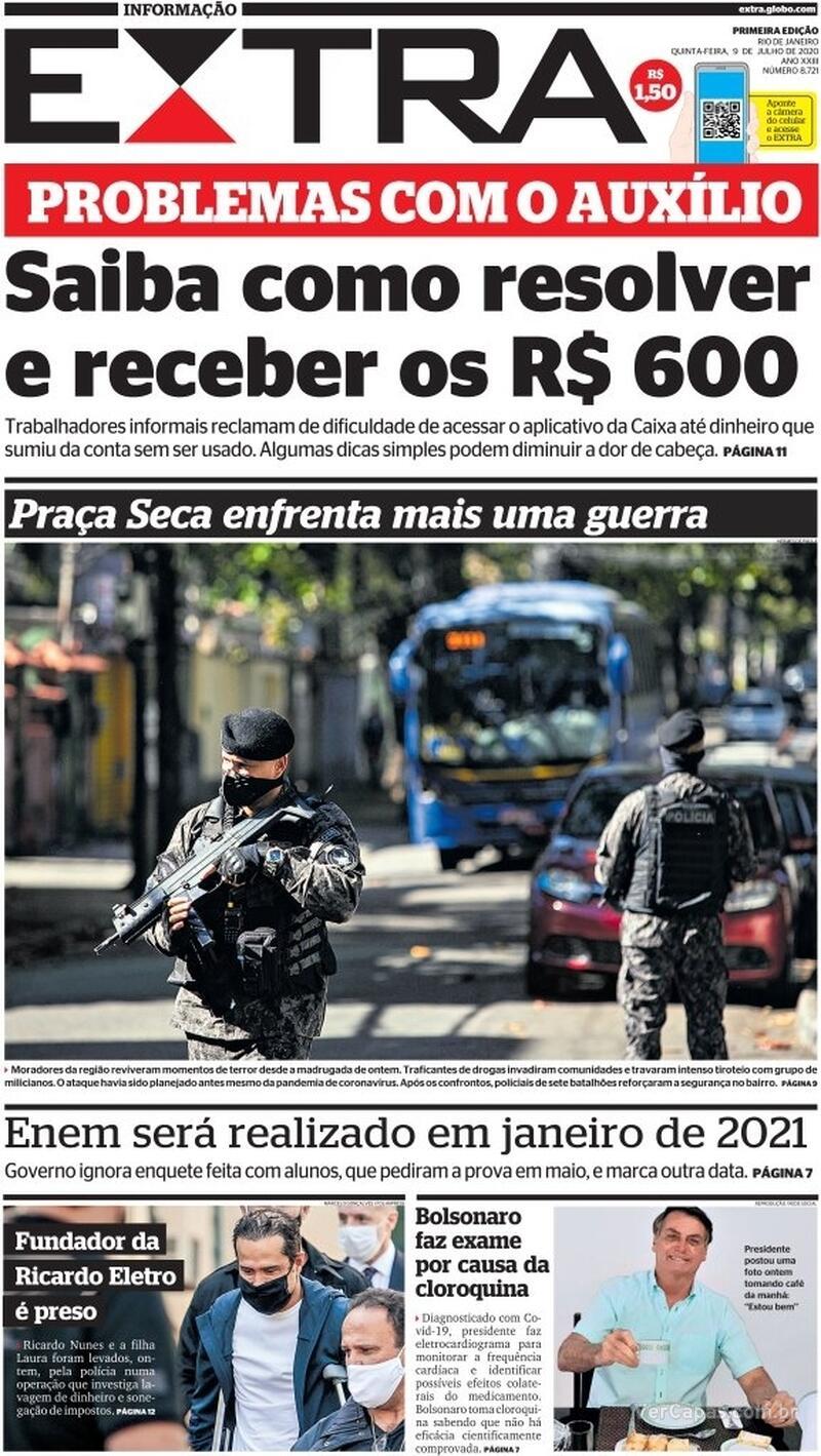 Capa do jornal Extra 09/07/2020