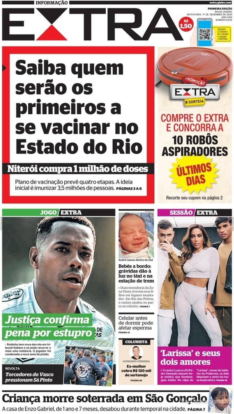 Capa do jornal Extra 11/12/2020