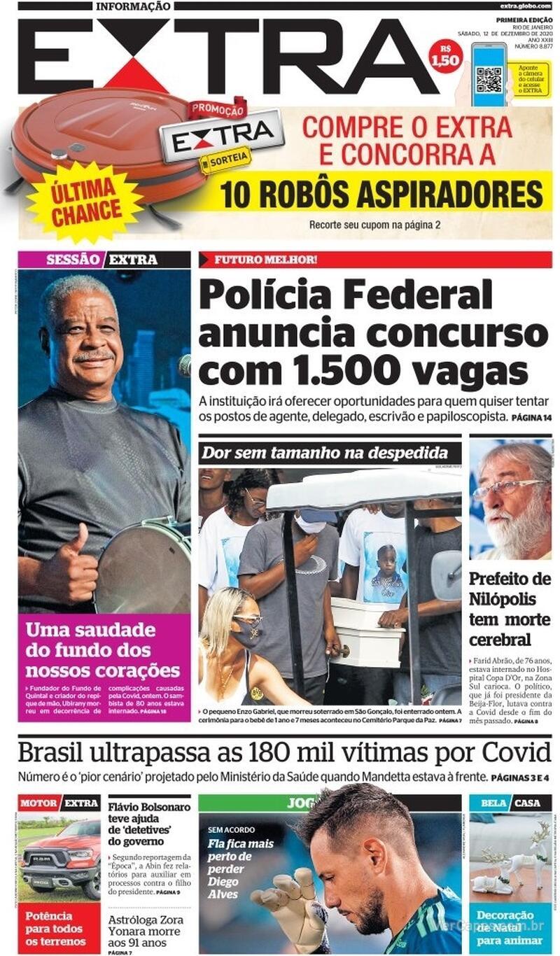 Capa do jornal Extra 12/12/2020