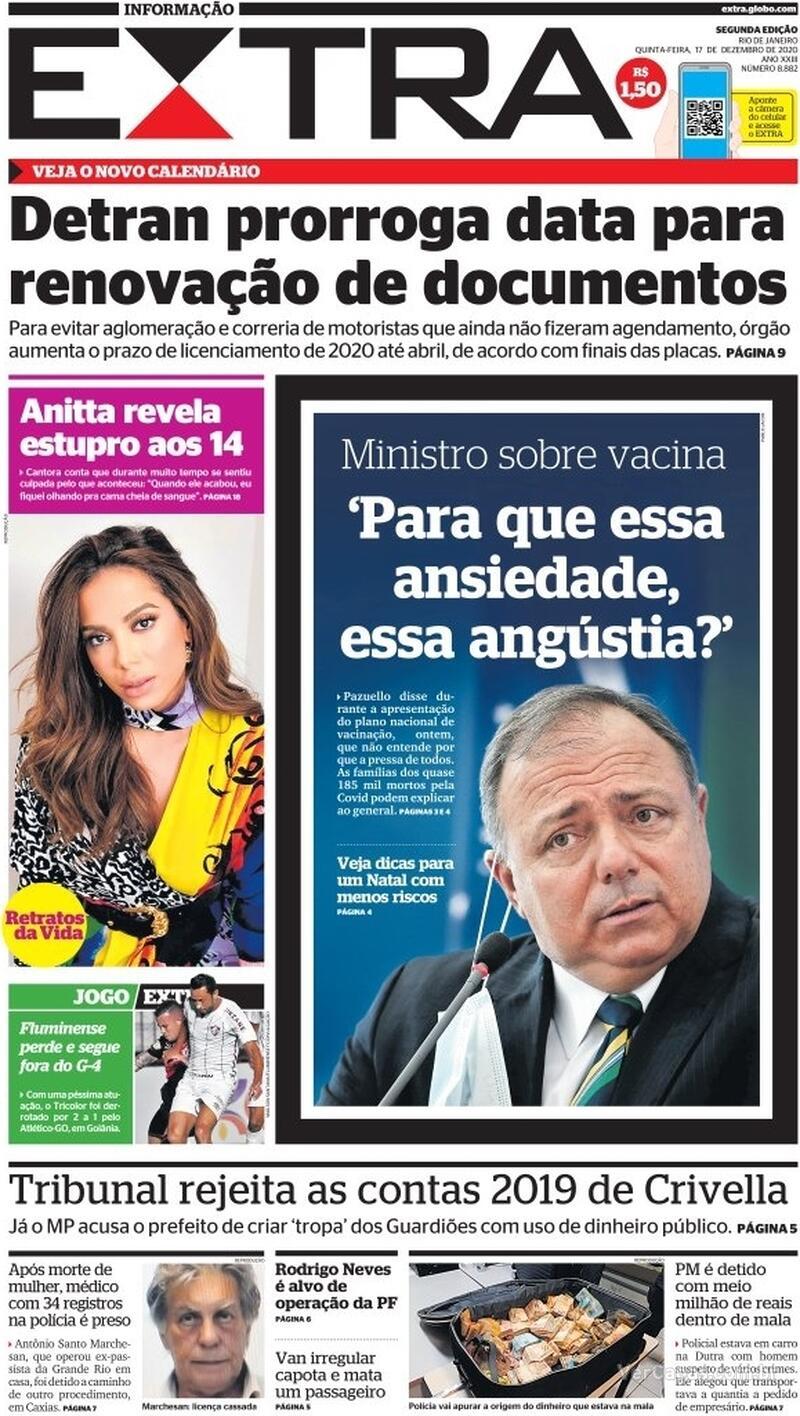 Capa do jornal Extra 17/12/2020