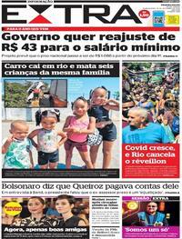 Capa do jornal Extra 16/12/2020
