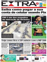 Capa do jornal Extra 19/11/2020