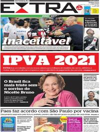 Capa do jornal Extra 21/12/2020