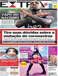 Capa do jornal Extra 22/12/2020