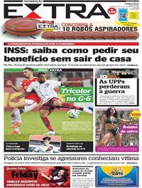 Capa do jornal Extra 23/11/2020