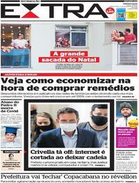 Capa do jornal Extra 24/12/2020