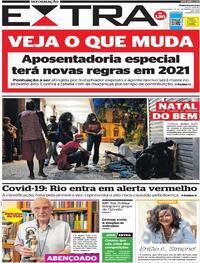 Capa do jornal Extra 25/12/2020