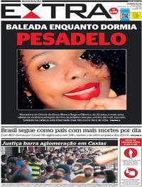 Capa do jornal Extra 26/05/2020