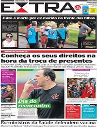 Capa do jornal Extra 26/12/2020