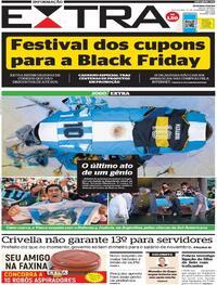 Capa do jornal Extra 27/11/2020